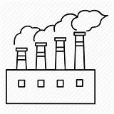 Factory Factories Industrial Pollution Industry Icon Line Drawing Outlines Getdrawings Sizes Buildings sketch template