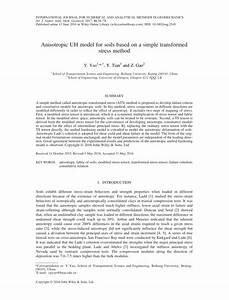 Pdf  Anisotropic Uh Model For Soils Based On A Simple