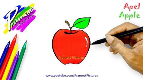 apel cara menggambar dan mewarnai gambar buah buahan