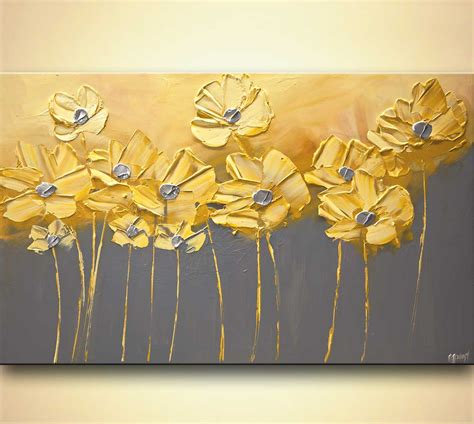 painting yellow gray flowers gray background painting home decor art 7905