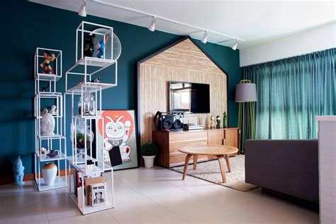 house   bold colourful  room hdb flat home