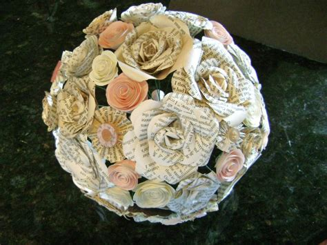 The Cara Blush Pink Bridal Bouquet Mixed Book Paper Roses