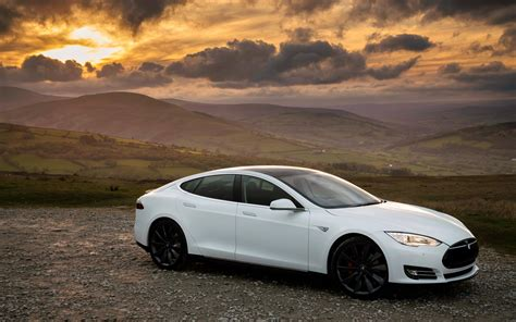 Hd Background Tesla Model S P85 White Sunset Side View
