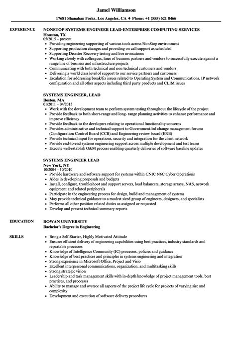 Project Lead Resume Sle by Systems Engineer Lead Resume Sles Velvet