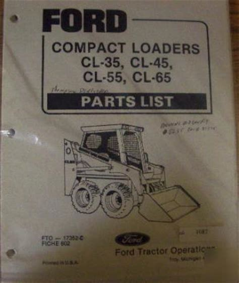 ford cl35 cl45 cl55 cl65 compact loader parts manual