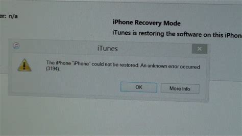 the iphone could not be restored 3194 fixed error iphone could not be restored an unknown