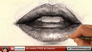 how to draw mouth lips for realistic portrait - YouTube