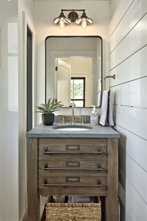 modern farmhouse powder room bathroom  shiplap wall