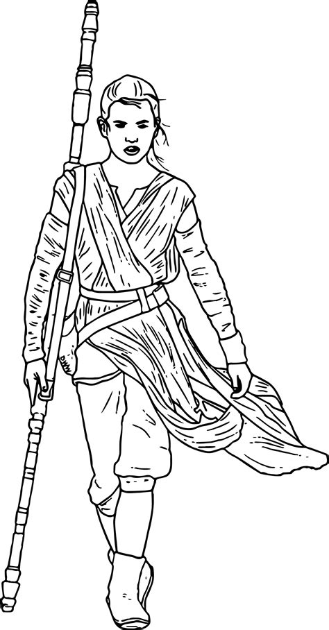 star wars  force awakens rey coloring page