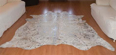Silver Cowhide Rug by H M Valley Ranch Store Western Decor Metallic Silver And