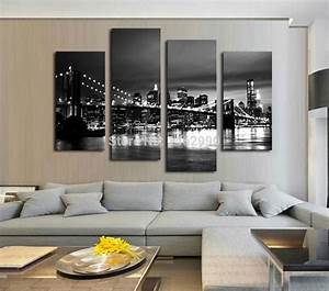 modern wall paintings living room peenmediacom With best brand of paint for kitchen cabinets with brooklyn bridge metal wall art