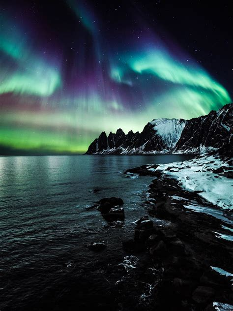 photo  aurora borealis  night time  stock photo