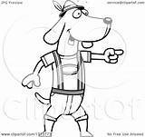Dog Dachshund Cartoon German Oktoberfest Lederhosen Clipart Skinny Outline Right Illustration Wearing Vector Pointing Royalty Thoman Cory Lineart Coloring Pages sketch template