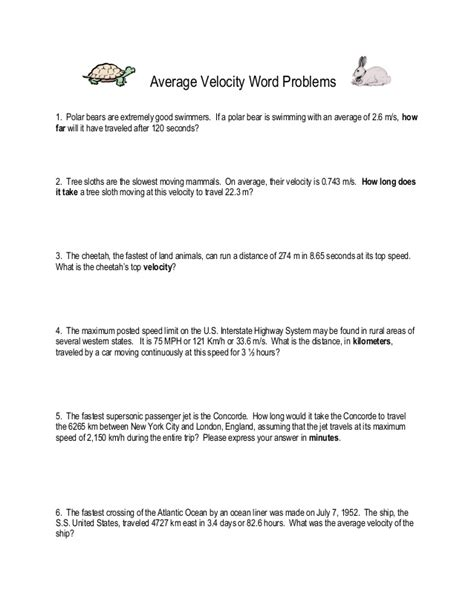 Average Velocity Worksheet