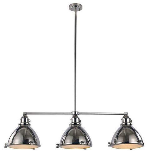 island 3 light pendant fixture polished nickel