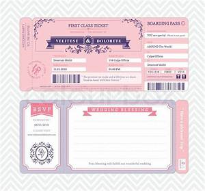 Boarding Pass Ticket Wedding Invitation Template | Stock ...