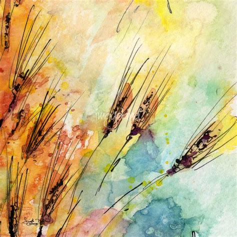 quot rye watercolor and ink modern square painting quot by ginette