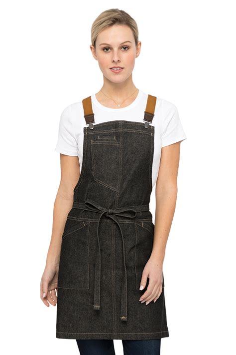 striped cropped suspender berkeley 39 s bib apron black denim chef works