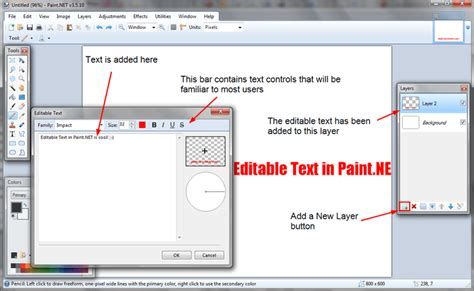 how to create editable text in paint net