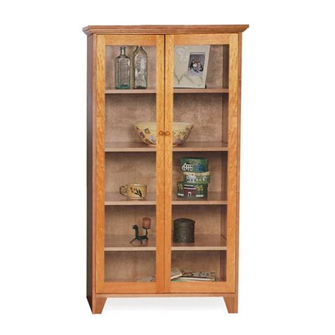 Bookcases With Sliding Glass Doors Custom Glass Door Shaker Bookcase Natural Cherry Walnut Oak Or Maple