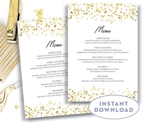 menu card template menu template 5x7 editable text microsoft word menu card