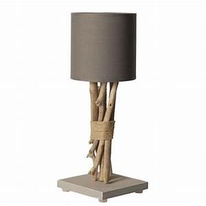 Lampe Chevet Bois Flotté : lampe de chevet bois flott abat jour gris clair ~ Teatrodelosmanantiales.com Idées de Décoration
