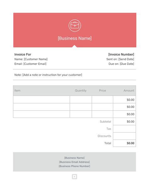 invoice template generate custom invoices square