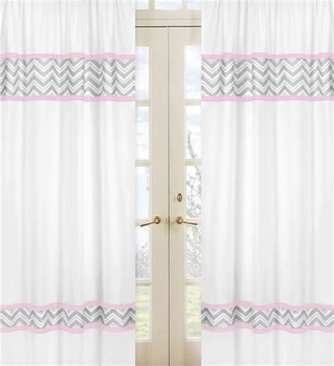pink and gray chevron window treatment panels by sweet