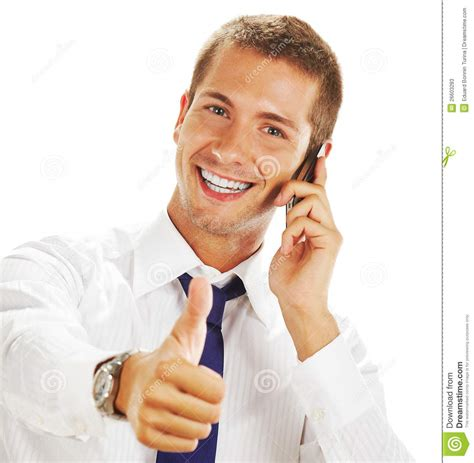 on the phone smiling businessman with phone stock photos image