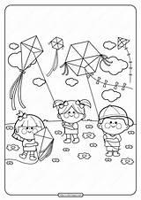 Coloring Printable Kites Flying Pdf Kite Colouring Children Boys Drawing Tweet Whatsapp Primarygames sketch template