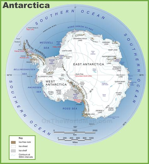 large detailed map  antarctica