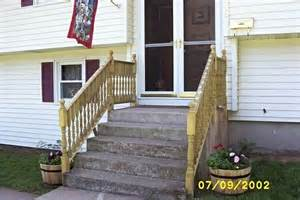 Wooden Handrails For Outdoor Steps - adding wooden handrails to concrete steps decorating in