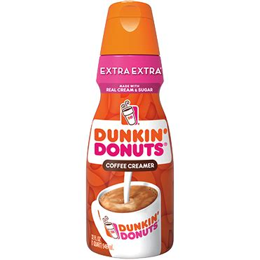 Rich and smooth, it's made with real cream and sugar. Dunkin Donuts Coffee Creamer, Extra Extra 32oz Wholesale - Danone Food Service