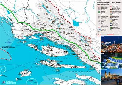 Dalmatia Map Coast Dalmatian Central Croatia Tourist