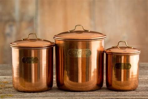 cool kitchen canisters 3 vintage copper kitchen canisters coffee tea and