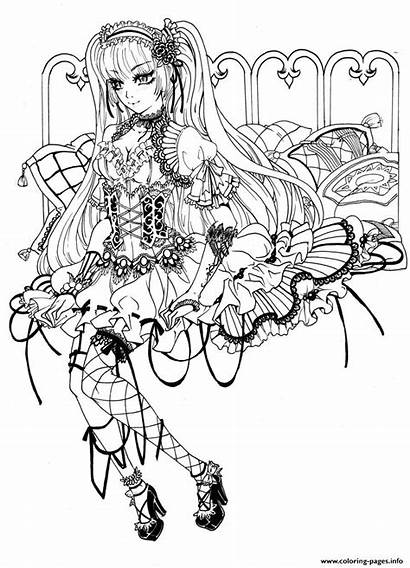 Coloring Fairy Gothic Pages Printable
