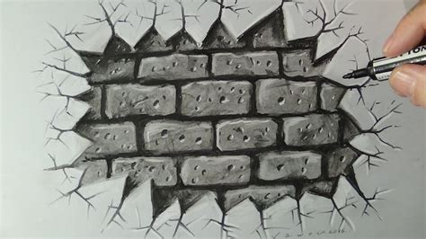 brick wall drawing drawing a brick wall time lapse 3d