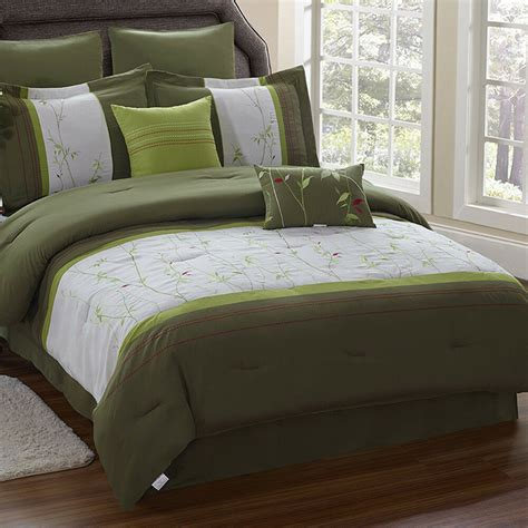 grass leaves embroidered pc comforter set queen king size