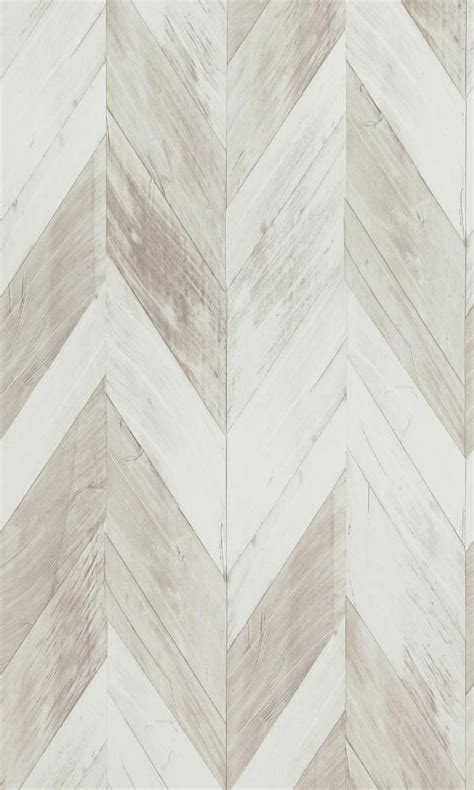 faux wood weathered herringbone wallpaper white  grey