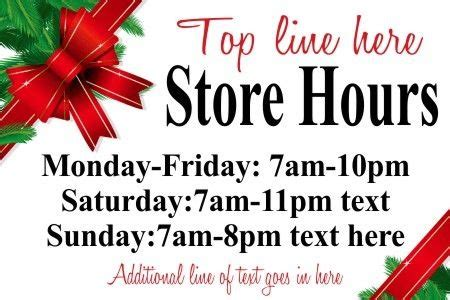 sign about winter christmas store hours holiday holly