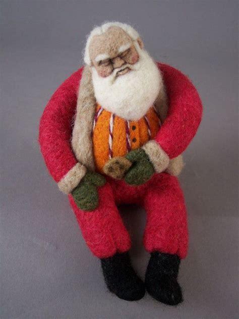 sleeping santa ooak needle felted etsy