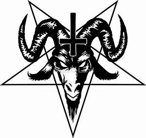 """""""Satanic Goat Head with Pentagram (black)"""" Stickers by ..."""
