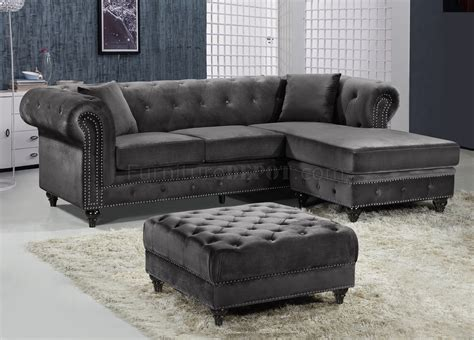gray velvet sectional sofa sabrina sectional sofa 667 in grey velvet fabric by meridian