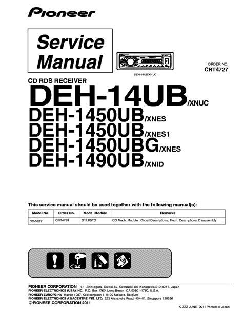 Pioneer Deh Service Manual Download