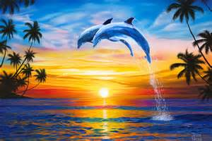 Dolphin Sunset Art Print, Dolphins Art, Ocean Palm Trees