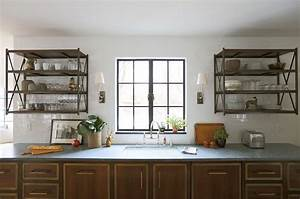 Wall mounted shelving unit eclectic kitchen summer for What kind of paint to use on kitchen cabinets for metal wall art mirrors