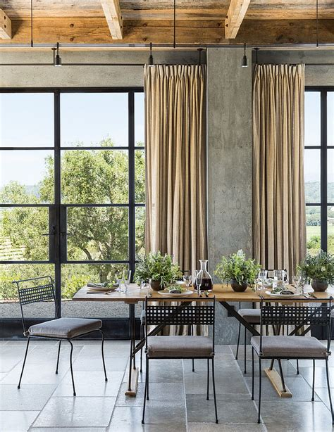 industrial style curtains 30 unassumingly chic farmhouse style dining room ideas