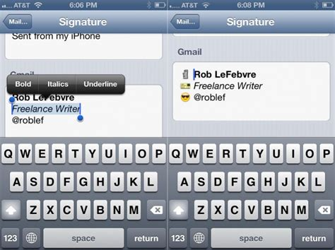 iphone text signature create a signature with rich text and icons on your