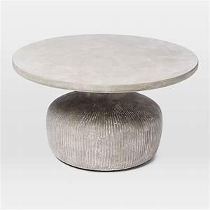 tambor concrete outdoor drum coffee table west elm With west elm drum coffee table