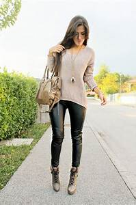 31 Fall Outfit 2016 Ideas with Black Leather Pants - Fashion Craze